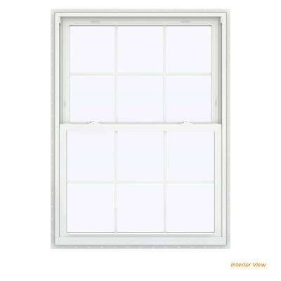 39.5 in. x 59.5 in. V-2500 Series Bronze Painted Vinyl Double Hung Window with Colonial Grids/Grilles