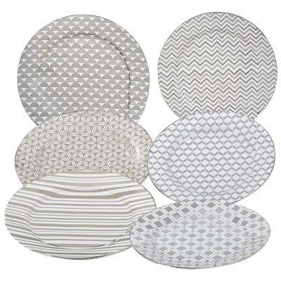 Silver Plated Taperd 8 in. Dessert and Salad Plate (Set of 6)