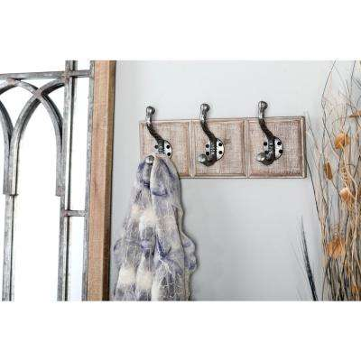 Gray Wood and Iron Rectangular Wall Hook Rack with 3 Hooks