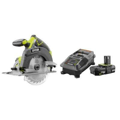 18-Volt ONE+ Cordless 6-1/2 in. Circular Saw with Lithium-Ion 2.0 Ah Battery and Dual Chemistry IntelliPort Charger