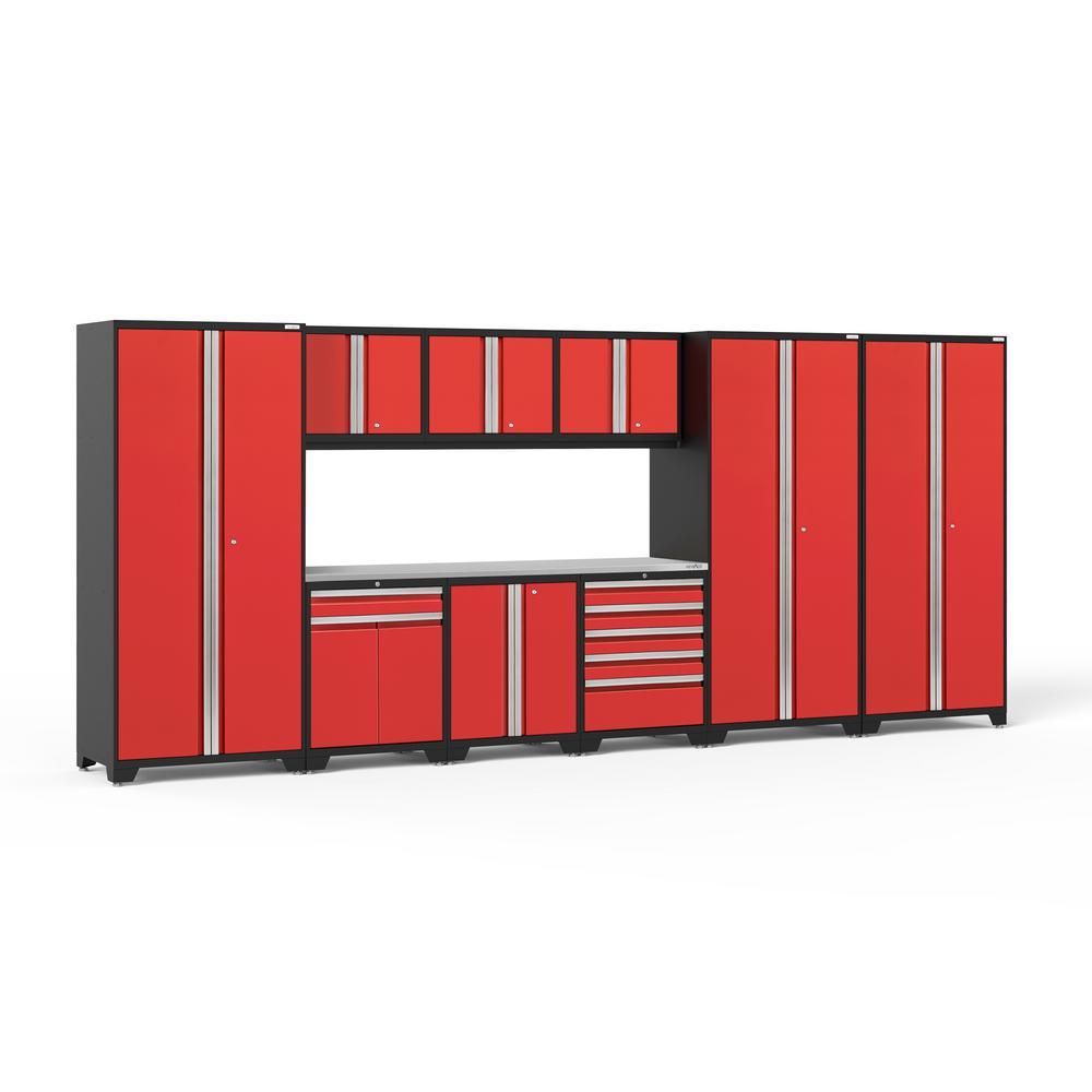 Pro 3.0 192 in. W x 83.25 in. H x 24 in. D 18-Gauge Welded Steel Stainless Steel Worktop Cabinet Set in Red (10-Piece)