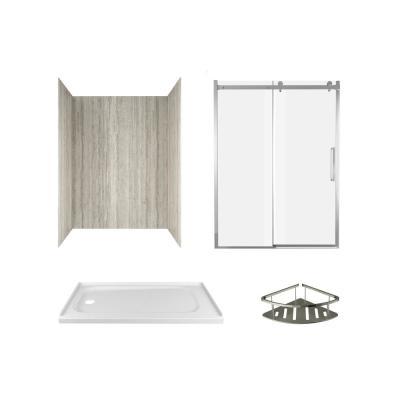 Passage 60 in. x 72 in. Left Drain 4-Piece Glue-Up Alcove Shower Wall, Shelf, Door and Base Kit in Pewter Travertine
