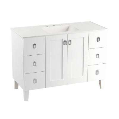 Poplin 48 in. Vanity in Linen White with Marble Vanity Top in Carrara with White Basin