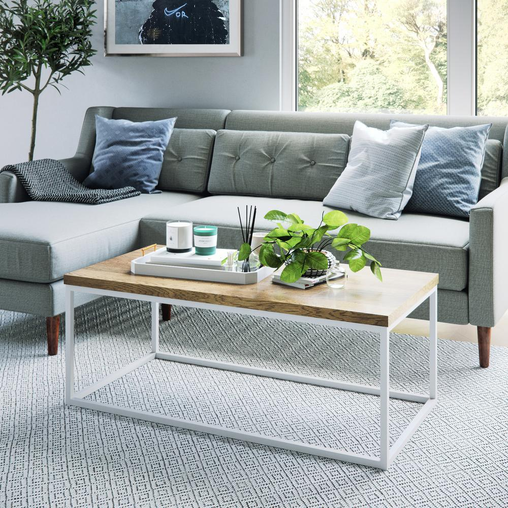 Doxa oak wood with matte white metal frame coffee table