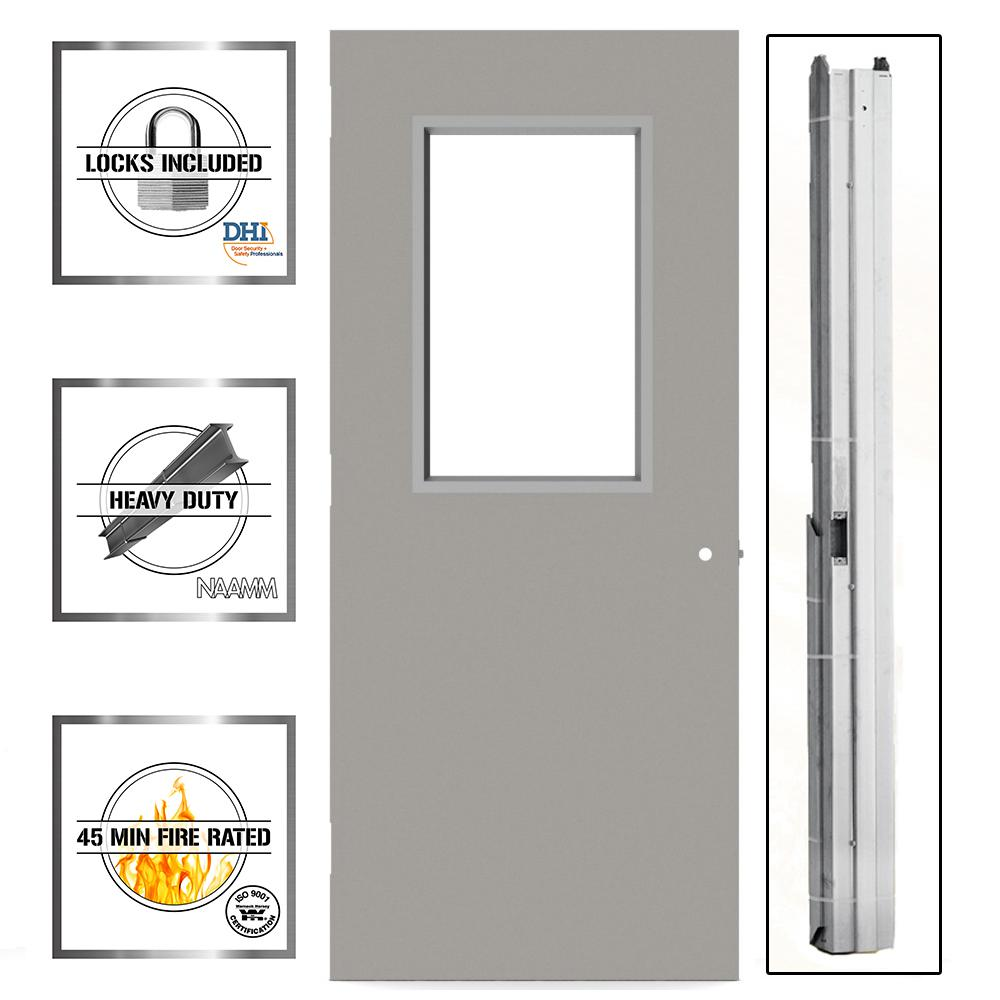 36 in. x 80 in. Gray Flush Steel Vision Light Commercial