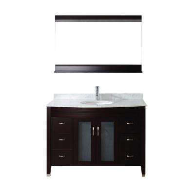 Alba 48 in. Vanity in Chai with Marble Vanity Top in Chai and Mirror