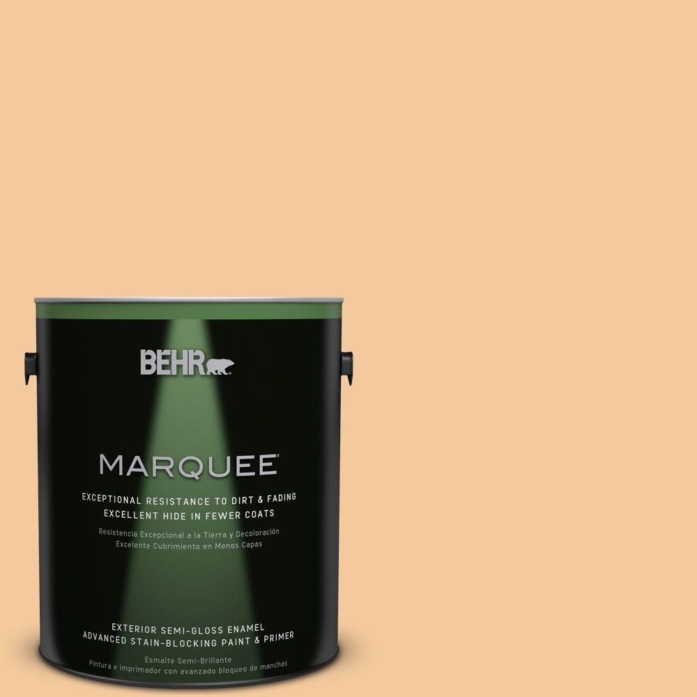 BEHR MARQUEE 1-gal. #M240-4 Sheer Apricot Semi-Gloss Enamel Exterior Paint