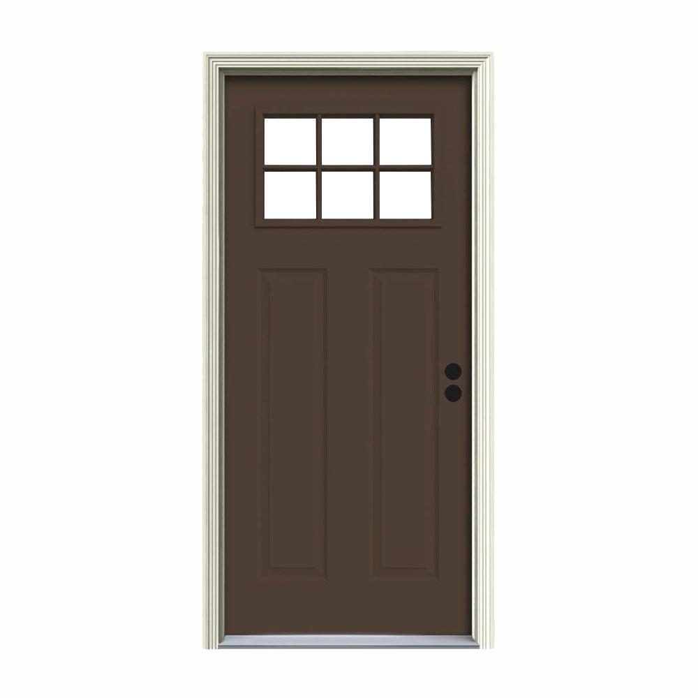 30 in. x 80 in. 6 Lite Craftsman Dark Chocolate Painted Steel Prehung Left-Hand Inswing Front Door w/Brickmould