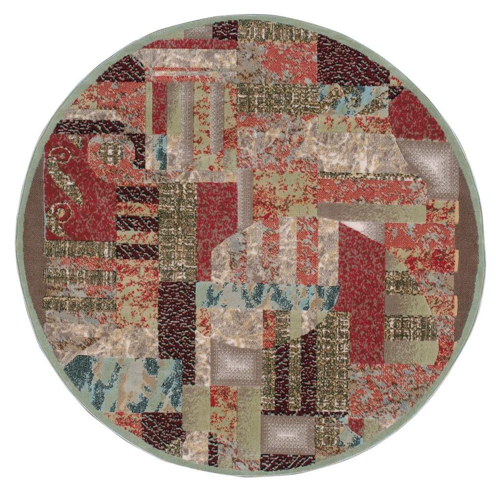 Nourison Modesto Abstract Beige 5 Ft 3 In Round Area Rug