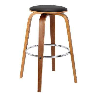 Bristol Mid-Century 30 in. Walnut Backless Swivel Wood Barstool with Black Faux Leather