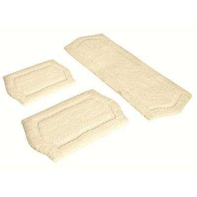 22 in. x 60 in., 21 in. x 34 in. and 17 in. x 24 in. 3-Piece Paradise Memory Foam Bath Rug Set in Ivory