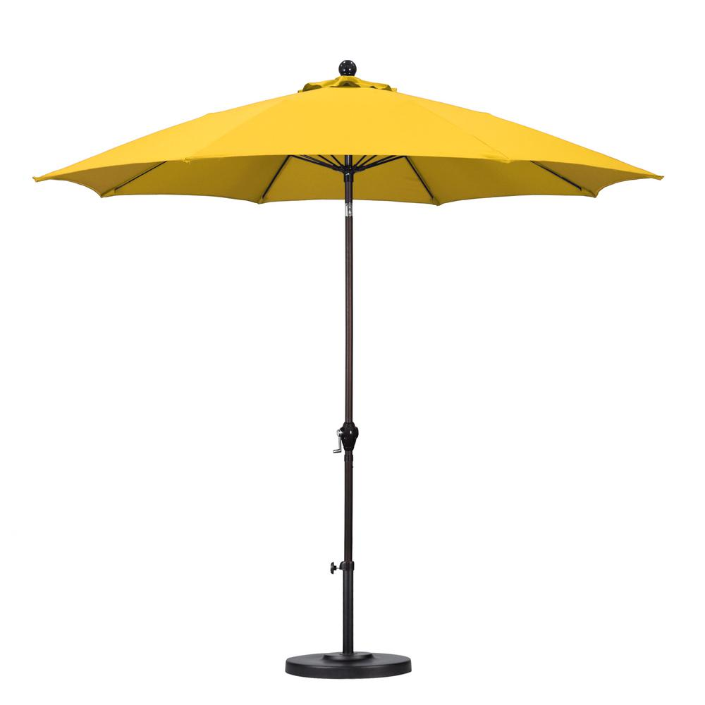 Beau California Umbrella 9 Ft. Fiberglass Push Tilt Patio Umbrella In Yellow  Polyester