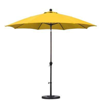 9 ft. Fiberglass Push Tilt Patio Umbrella in Yellow Polyester