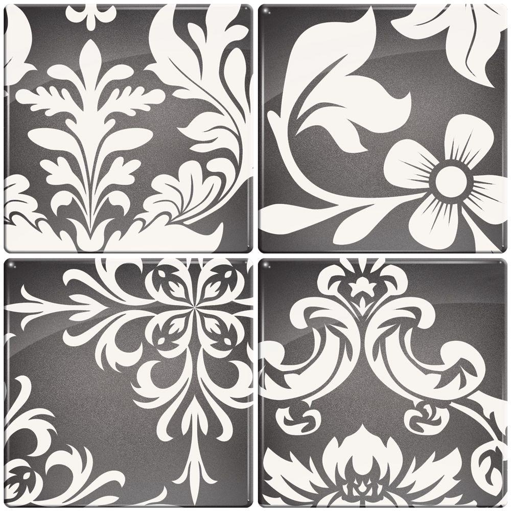 Smart Tiles 3-11/16 in. x 3-11/16 in. Versailles Gel Tile Gray Decorative Wall Tile (4-Pack)-DISCONTINUED