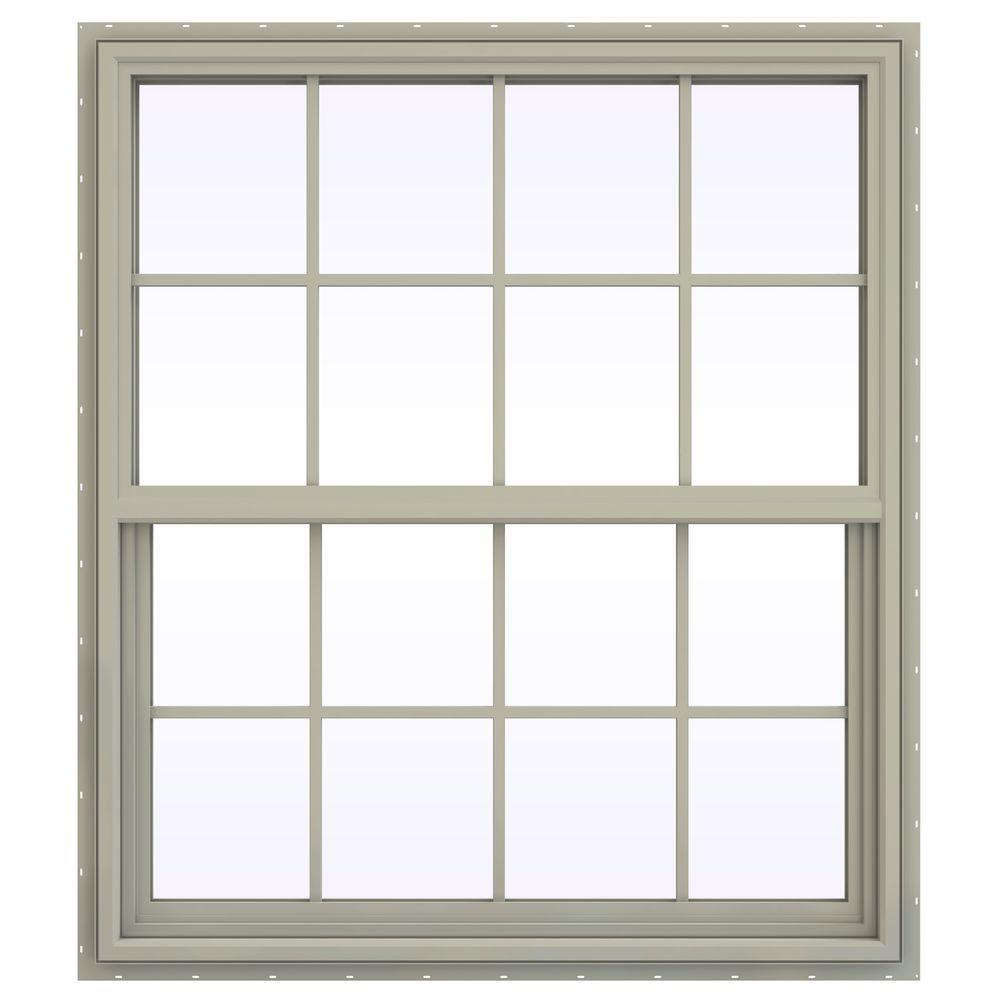 JELD-WEN 41.5 in. x 53.5 in. V-4500 Series Single Hung Vinyl Window with Grids - Tan