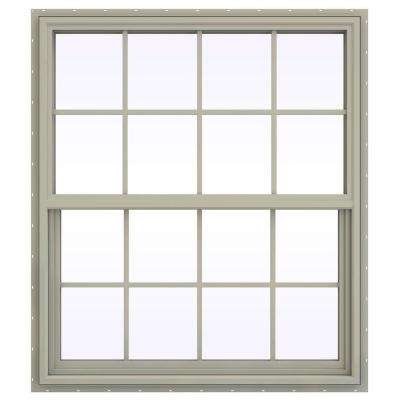 41.5 in. x 41.5 in. V-4500 Series Single Hung Vinyl Window with Grids - Tan