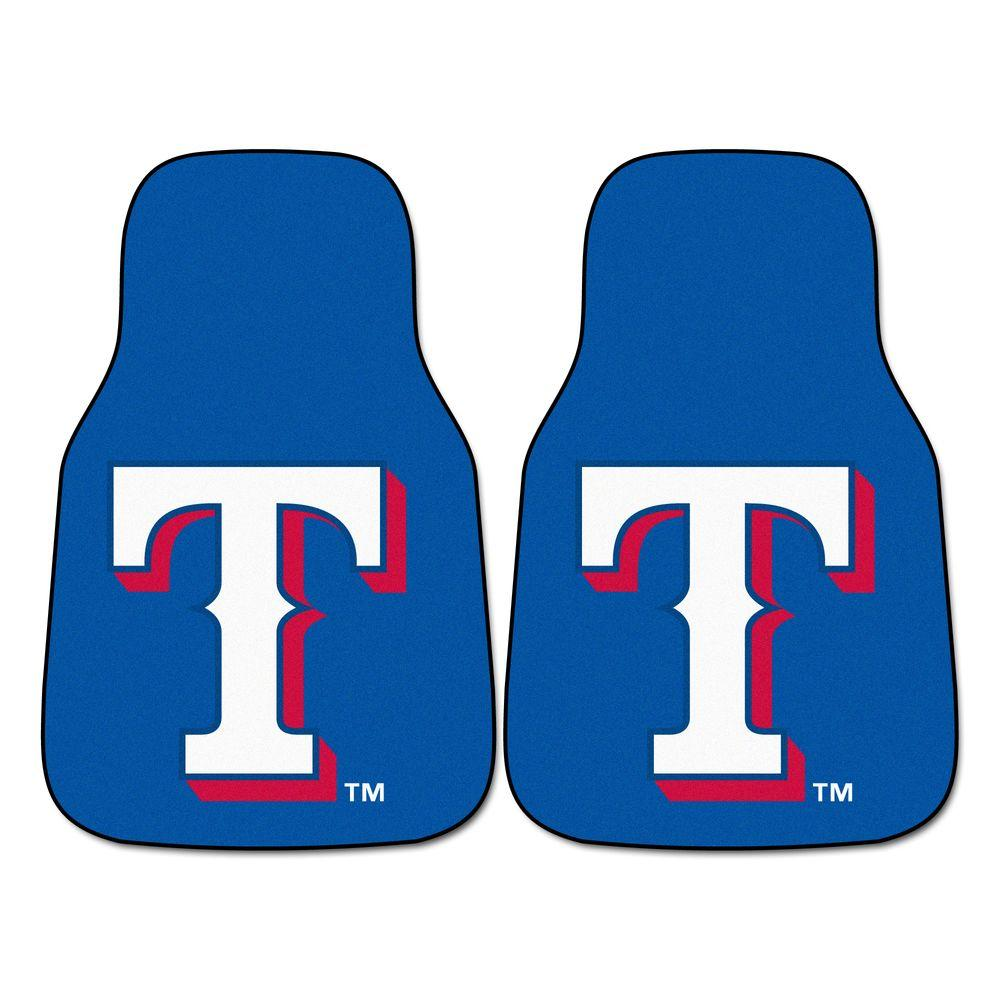 Fanmats Texas Rangers 18 In X 27 In 2 Piece Carpeted Car Mat Set 6422 The Home Depot