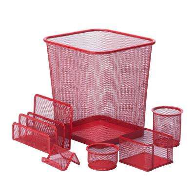 6-Piece Steel Mesh Desk Set in Red