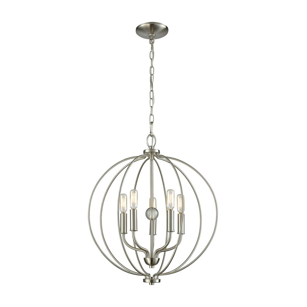 thomas lighting williamsport 5-light brushed nickel chandelier-cn15752