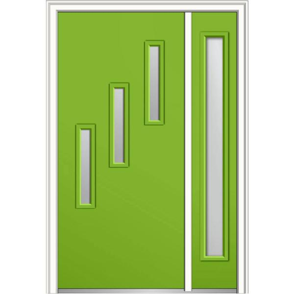 Mmi Door 51 In X 81 75 In Davina Low E Glass Right Hand 3 Lite Modern Painted Fiberglass Smooth Prehung Front Door W Sidelite Z0346576r The Home Depot