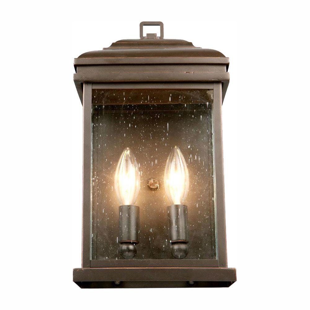Hampton Bay 2-Light Oil-Rubbed Bronze Outdoor Wall Lantern Sconce