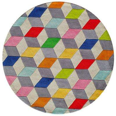 Lil Mo Hipster Color Cubes Multi 5 ft. x 5 ft. Indoor Kids Round Area Rug