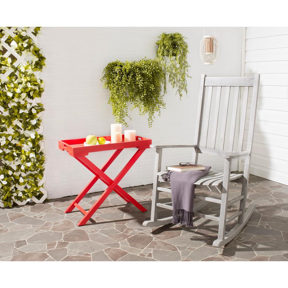 Safavieh Shasta Gray Wash Wood Outdoor Rocking Chair