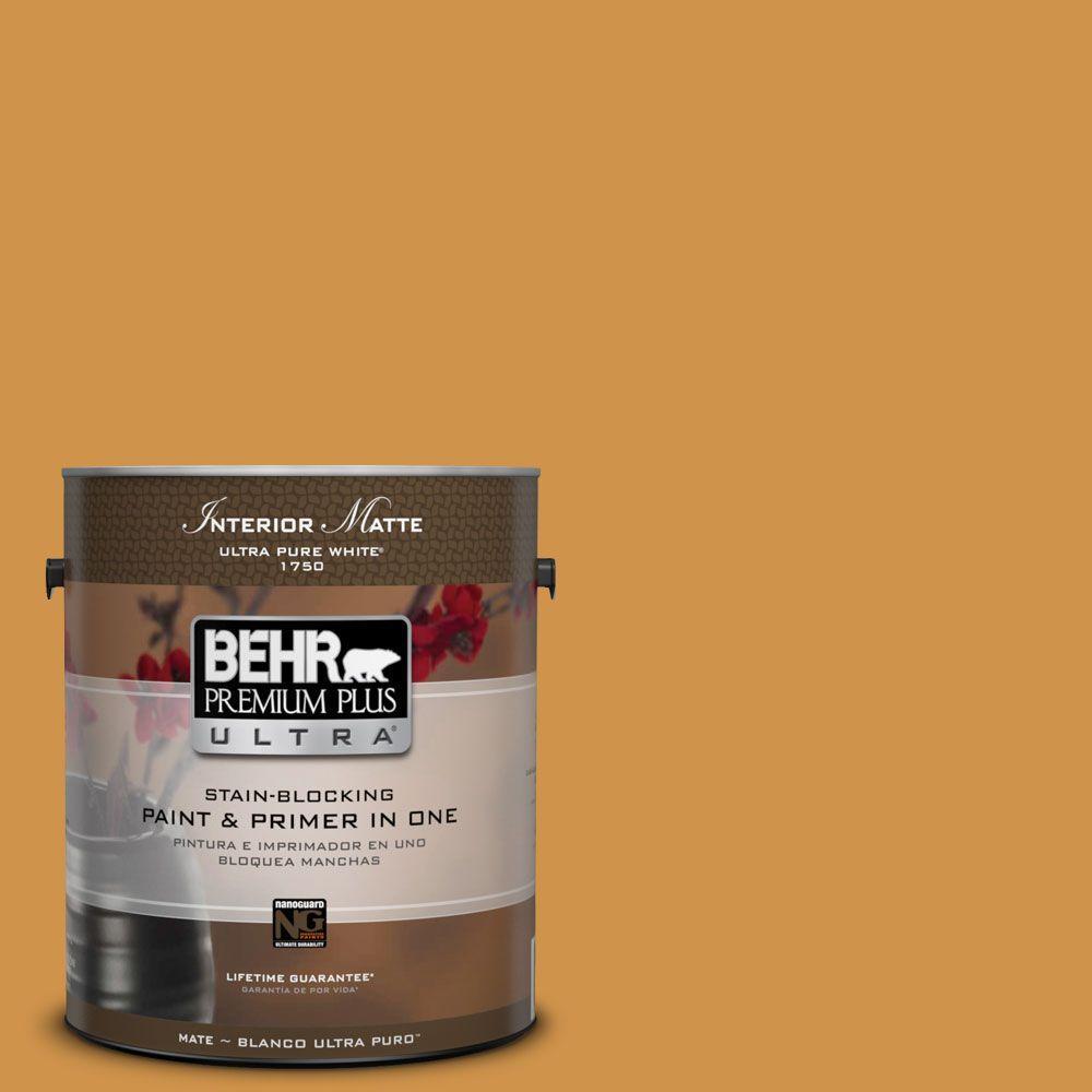 BEHR Premium Plus Ultra 1 gal. #M260-6 Sweet Mustard Matte Interior Paint