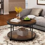 Brown Textured Round Coffee Table with Casters