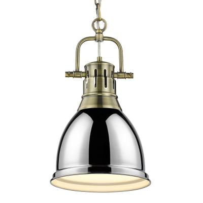 Duncan 1-Light Aged Brass Standard Mini Pendant with Metal Shade