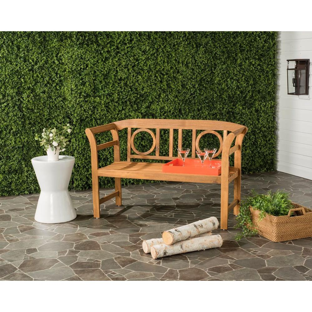 Safavieh Moorpark Outdoor 2 Seat Acacia Patio Bench In Teak