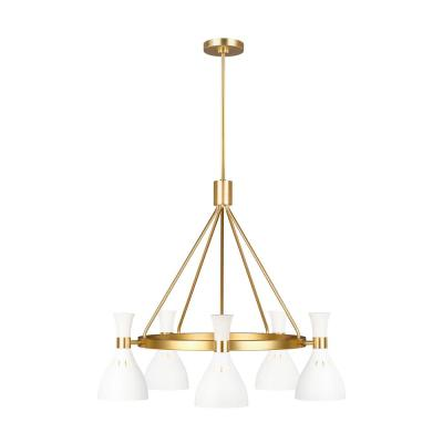 ED Ellen DeGeneres Crafted by Generation Lighting Joan 32 in. W 5-Light Matte White Chandelier with Hourglass Shades