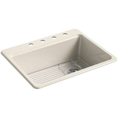 Riverby Drop-In Cast Iron 27 in. 4-Hole Single Bowl Kitchen Sink Kit in Almond