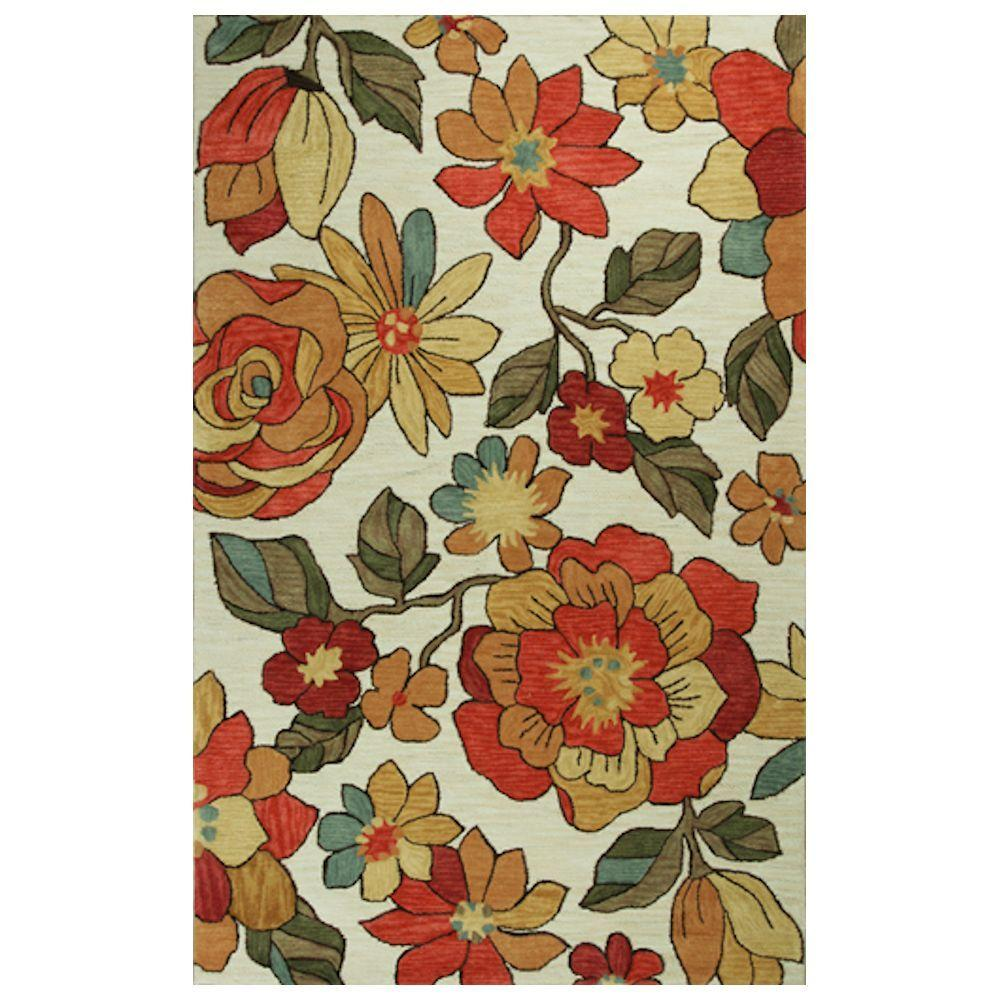 Kas Rugs Summer Pop Ivory/Red 7 ft. 9 in. x 9 ft. 9 in. Area Rug