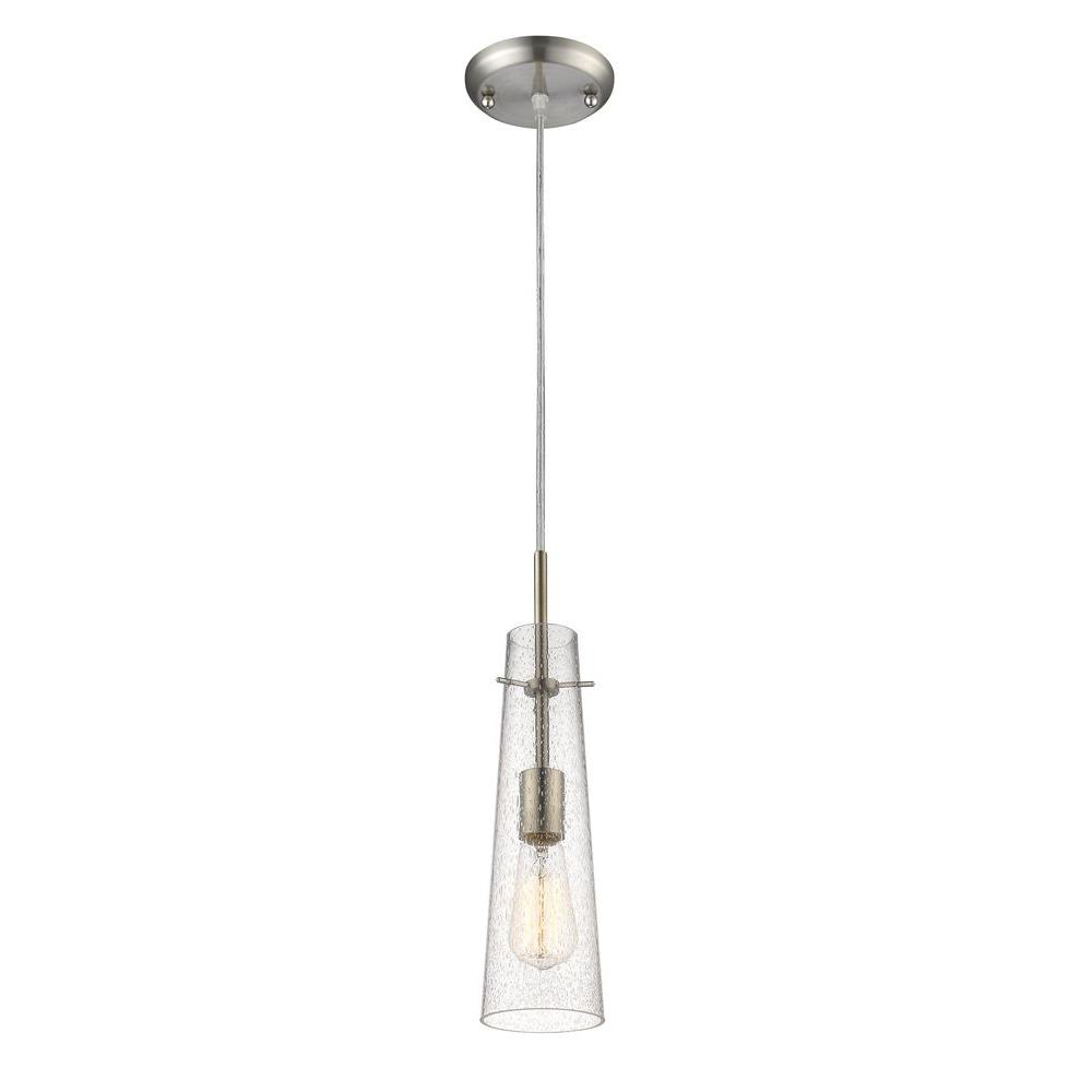 Mayne 1 Light Brushed Nickel Modern Pendant With Clear Seeded Exterior Gl