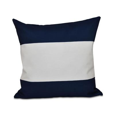 Horizontal Navy Blue Striped 16 in. x 16 in. Throw Pillow