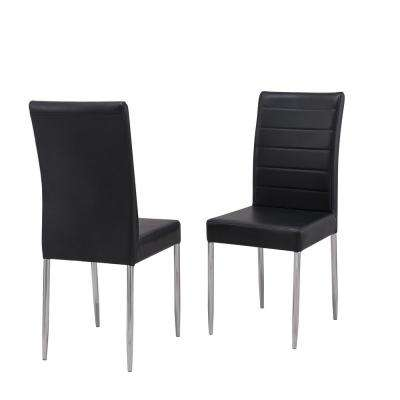Irving Black Leatherette Upholstered Parson Chair Set Of 2 Faux Leather