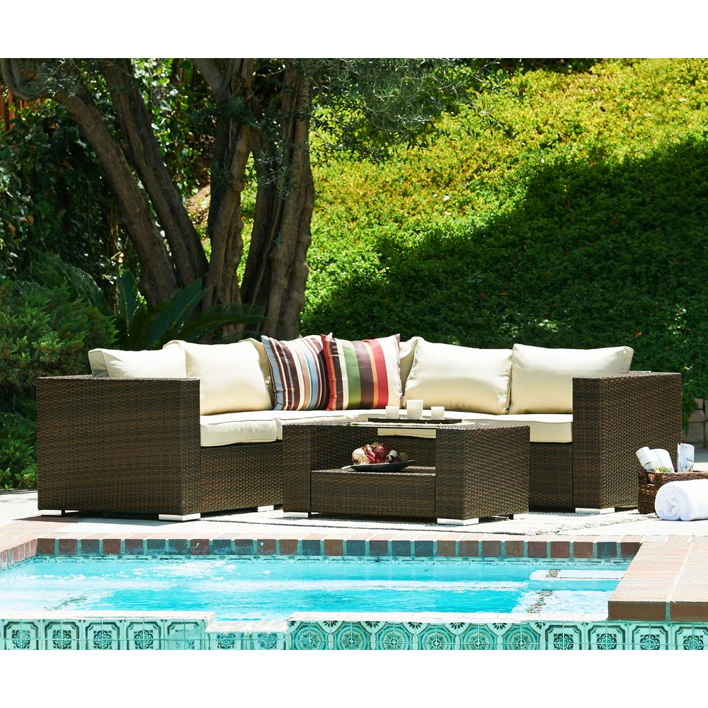 S Dente Kessler Dark Brown 4 Piece Wicker Outdoor Sectional With Beige Cushions
