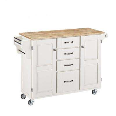 Create-a-Cart White Kitchen Cart with Natural Wood Top