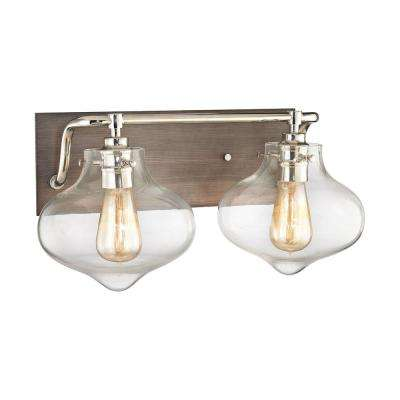 Kelsey 2-Light Weathered Zinc Vanity Light with Polished Nickel Accents