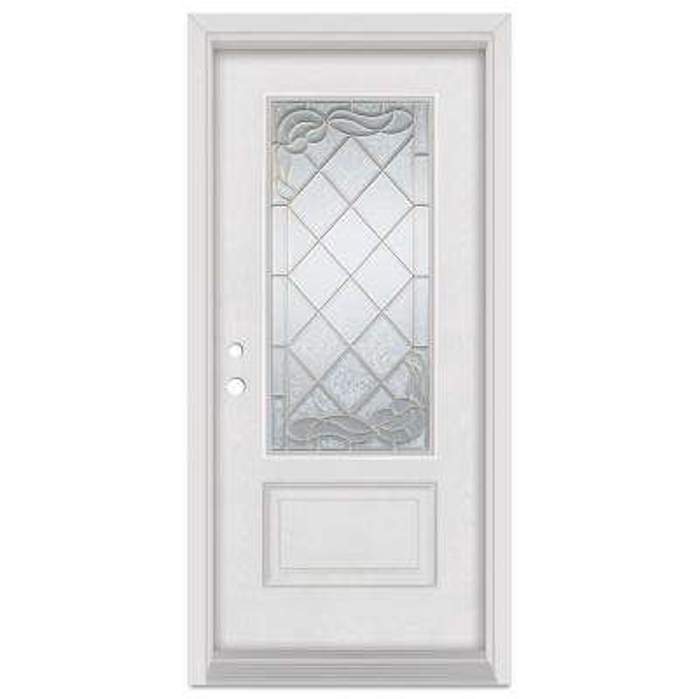 37.375 in. x 83 in. Art Deco Right-Hand 3/4 Lite Brass Finished Fiberglass Mahogany Woodgrain Prehung Front Door