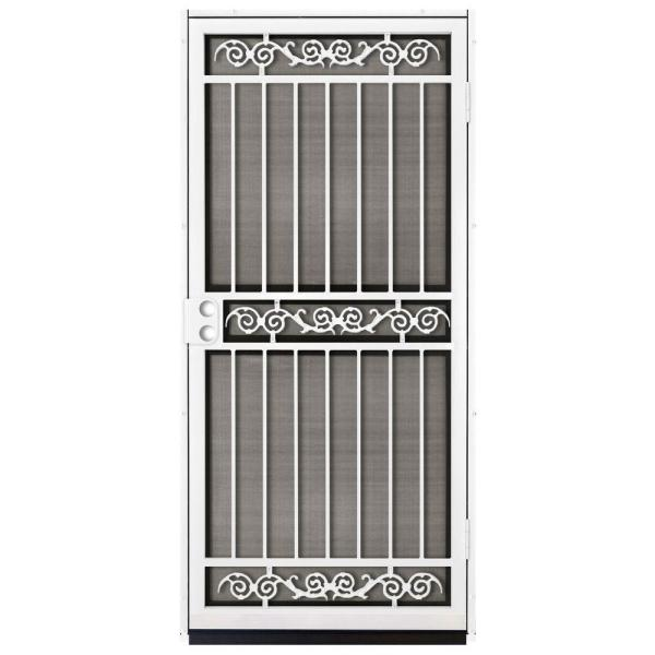 36 in. x 80 in. Sylvan White Surface Mount Outswing Steel Security Door with Insect Screen