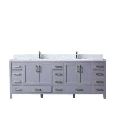 Jacques 84 in. Double Bath Vanity in Dark Grey with White Carrera Marble Vanity Top with White Square Sinks