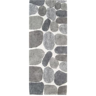 Pebbles Grey 24 in. x 60 in. Bath Rug Runner