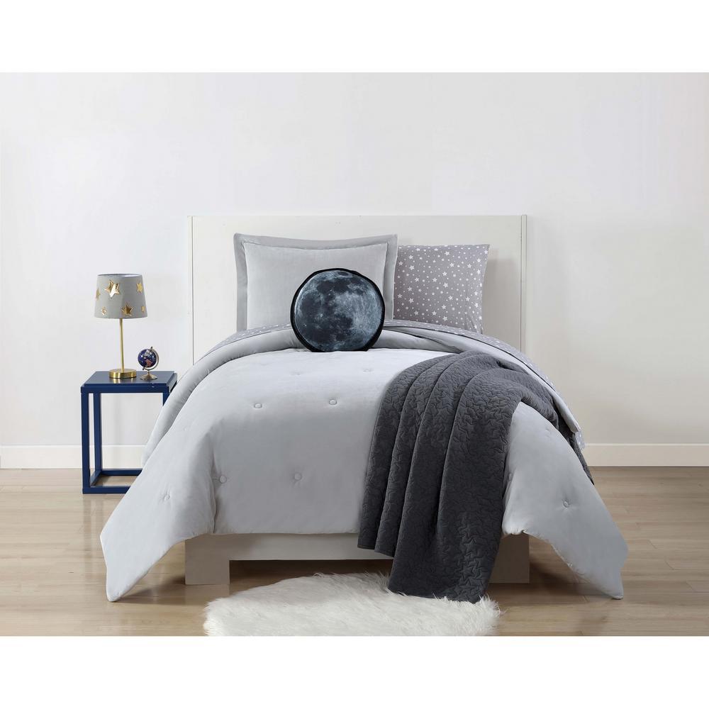 Velvet and Jersey Grey Full / Queen Comforter Set by