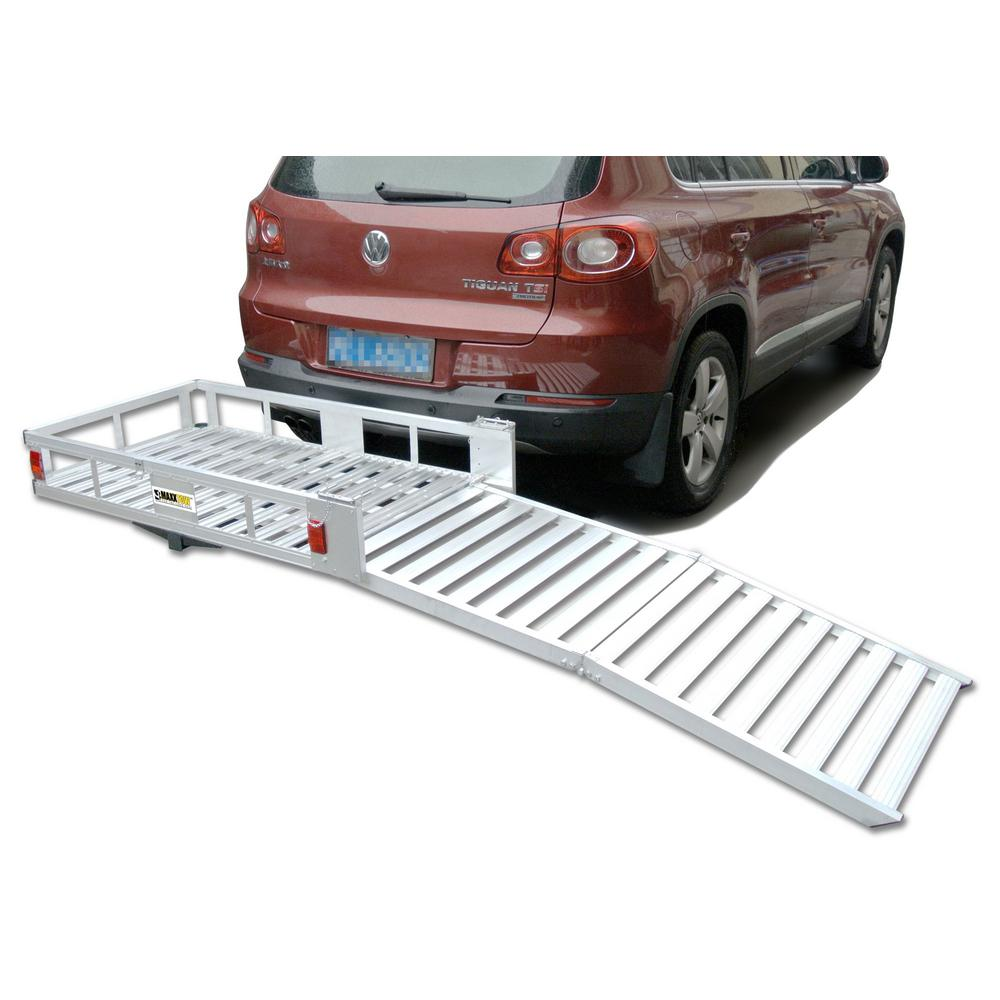 MaxxHaul 500 lb. Capacity 48 inch x 28 inch Aluminum Hitch Cargo Carrier for 2 inch Receiver w/ Folding Ramp