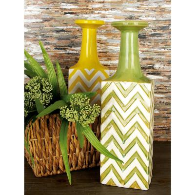 Litton Lane 17 in. Ceramic Decorative Vase in Polished Blue, Yellow and Green (Set of 3), Multi