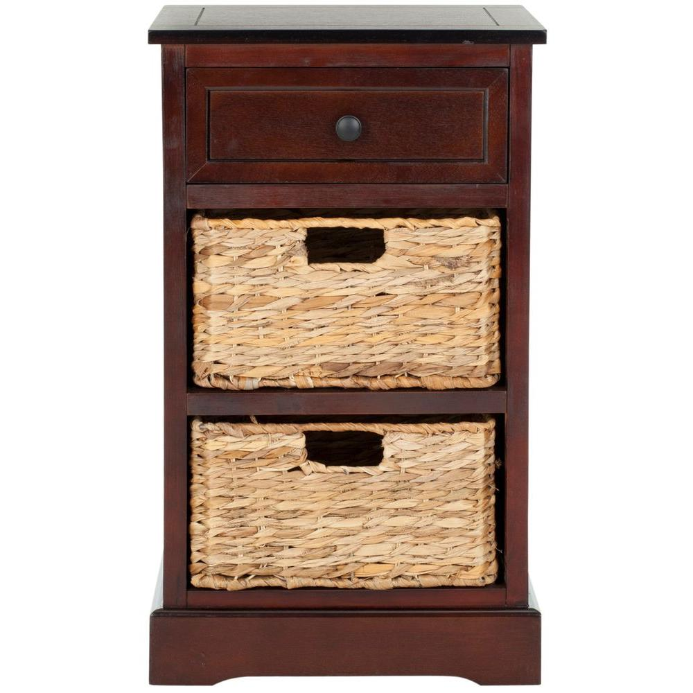 side table with drawer Safavieh Carrie Dark Cherry Storage Side Table AMH5700D   The Home  side table with drawer