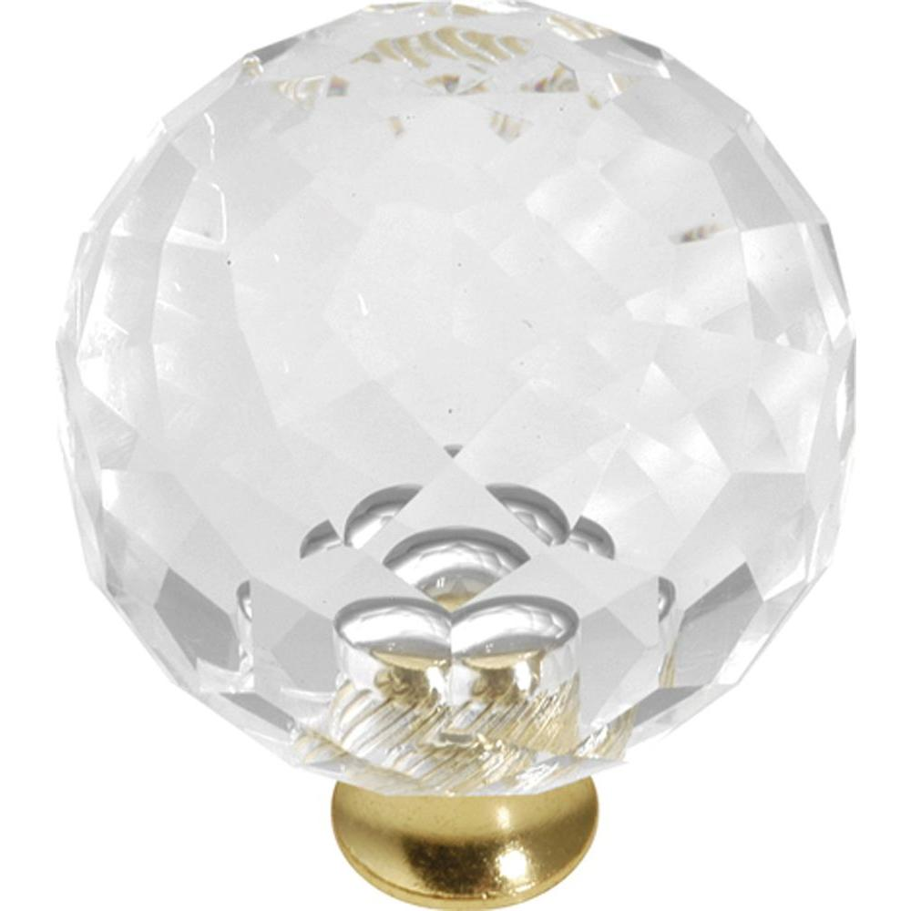 Hickory Hardware Crystal Palace 1-3/8 in. Crysacrylic Polished Brass Cabinet Knob