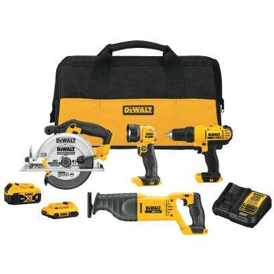 20-Volt MAX Cordless Combo Kit (4-Tool) with 4 Ahr Battery, 2 Ahr Battery, Charger and Bag